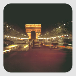 Europe, France, Paris. Evening traffic rushes Square Sticker