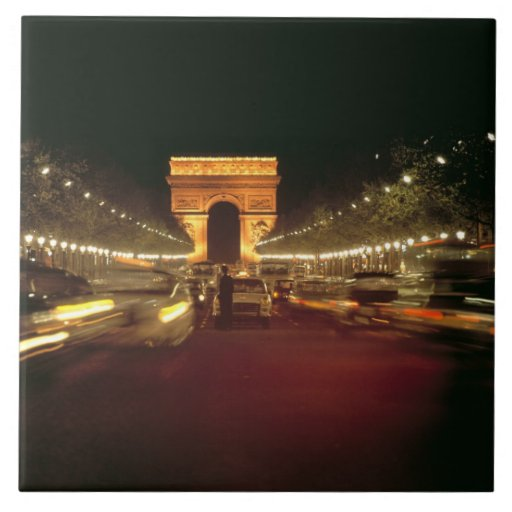 Europe, France, Paris. Evening traffic rushes Tiles