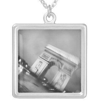 Europe, France, Paris. Spinning Arc de Triomphe Silver Plated Necklace