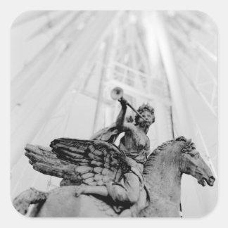 Europe, France, Paris. Statue and Ferris Wheel, 2 Square Sticker