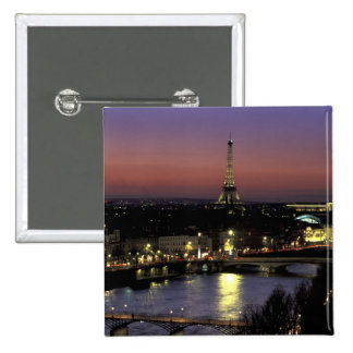 Europe, France, Paris, Sunset view of Eiffel 15 Cm Square Badge