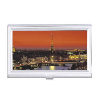 Europe, France, Paris. Sunset view of Eiffel Business Card Holder
