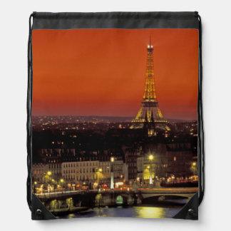 Europe, France, Paris. Sunset view of Eiffel Drawstring Bag