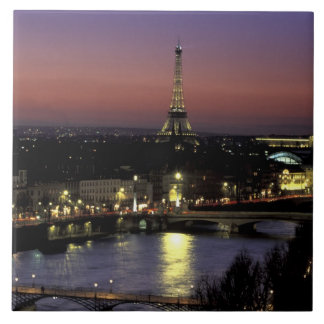 Europe, France, Paris, Sunset view of Eiffel Large Square Tile