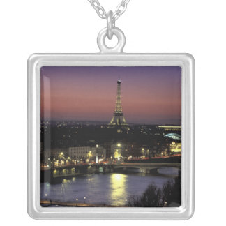Europe, France, Paris, Sunset view of Eiffel Silver Plated Necklace