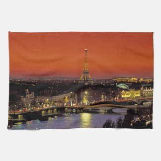 Europe, France, Paris. Sunset view of Eiffel Tea Towel