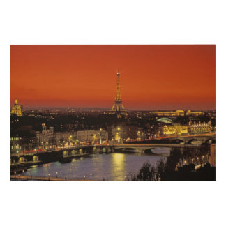 Europe, France, Paris. Sunset view of Eiffel Wood Wall Decor