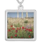 Europe, Greece, Cyclades, Delos. Column ruins. 2 Silver Plated Necklace
