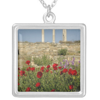 Europe, Greece, Cyclades, Delos. Column ruins. 2 Silver Plated Necklace