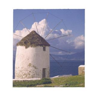 Europe, Greece, Mykonos. A striking white Notepad