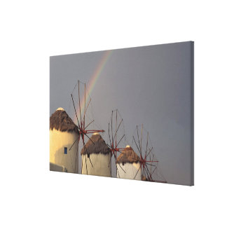 Europe, Greece, Mykonos. wind mill with rainbow Canvas Print