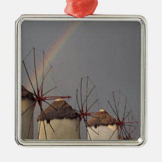 Europe, Greece, Mykonos. wind mill with rainbow Silver-Colored Square Decoration