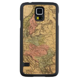 Europe Hand Colored Atlas Map 2 Carved Maple Galaxy S5 Case
