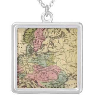 Europe Hand Colored Atlas Map 2 Silver Plated Necklace