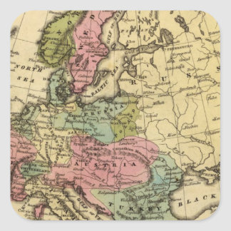 Europe Hand Colored Atlas Map 2 Square Sticker