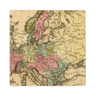 Europe Hand Colored Atlas Map 2 Wood Coaster