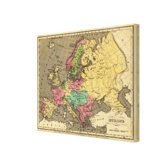 Europe Hand Colored Atlas Map Canvas Print