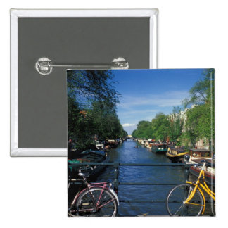 Europe, Holland, Amsterdam, yellow bicycle and 15 Cm Square Badge