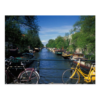 Europe, Holland, Amsterdam, yellow bicycle and Post Card