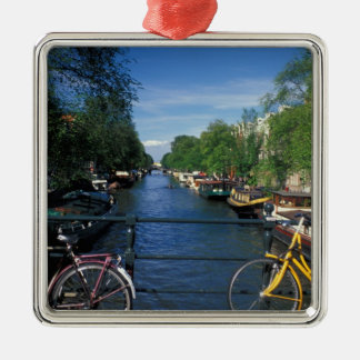 Europe, Holland, Amsterdam, yellow bicycle and Silver-Colored Square Decoration