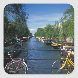 Europe, Holland, Amsterdam, yellow bicycle and Square Sticker