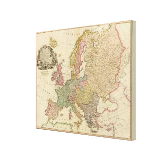 Europe Illustrated Map Canvas Print