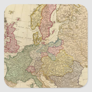 Europe Illustrated Map Square Sticker