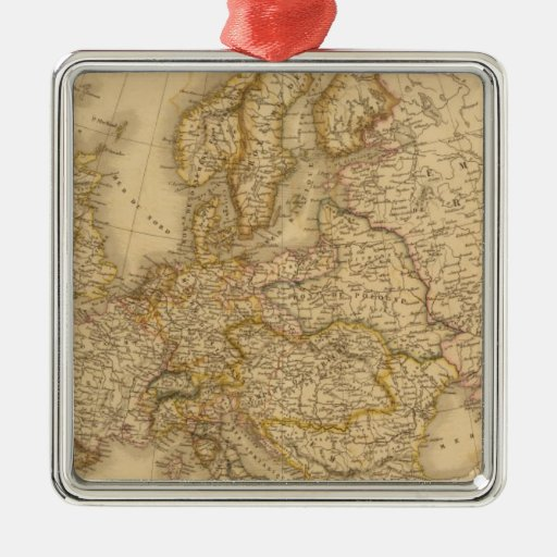 Europe in 1789 Silver-Colored square decoration