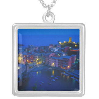 Europe, Italy, Cinque Terre, Vernazza. Hillside Silver Plated Necklace