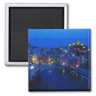 Europe, Italy, Cinque Terre, Vernazza. Hillside Square Magnet