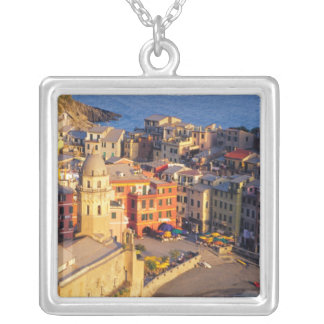 Europe, Italy, Cinque Terre. Village of Vernazza Silver Plated Necklace