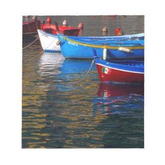 Europe, Italy, Cinque Terry, boats in Vernazza Notepad