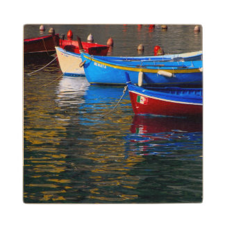 Europe, Italy, Cinque Terry, boats in Vernazza Wood Coaster