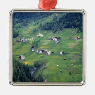 Europe, Italy, Dolomite Alps. This tiny village Silver-Colored Square Decoration