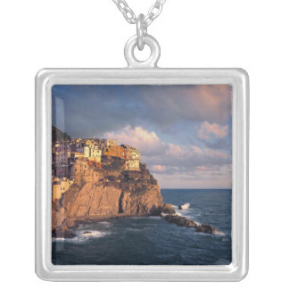 Europe, Italy, Manarola. The cliff-nestled Silver Plated Necklace