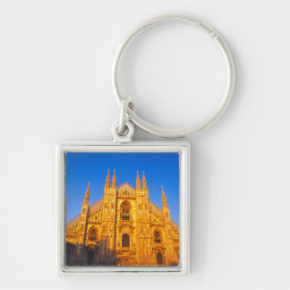 Europe, Italy, Milan, Cathedral of Milan Silver-Colored Square Key Ring