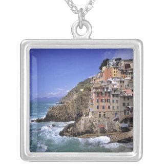 Europe, Italy, Riomaggiore. Riomaggiore is built Silver Plated Necklace