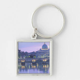 Europe, Italy, Rome, The Vatican. St. Peter's & Silver-Colored Square Key Ring
