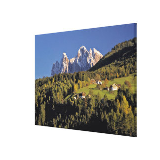 Europe, Italy, San Pietro. The Odle Group seem Canvas Print