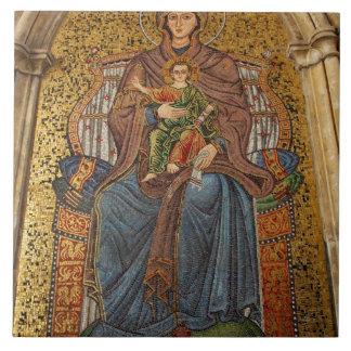 Europe, Italy, Sicily, Taormina. Madonna & child Tile
