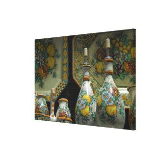 Europe, Italy, Sicily, Taormina. Traditional 5 Canvas Print