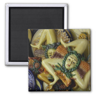 Europe, Italy, Sicily, Taormina. Traditional 9 Square Magnet