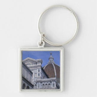 Europe, Italy, Tuscany, Florence. Piazza del 2 Silver-Colored Square Key Ring