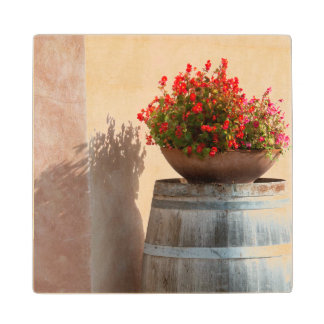 Europe, Italy, Tuscany. Flower pot Wood Coaster
