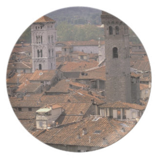Europe, Italy, Tuscany, Lucca, Town panorama Plate