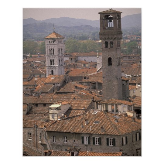 Europe, Italy, Tuscany, Lucca, Town panorama Poster