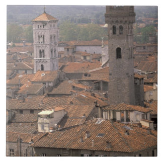 Europe, Italy, Tuscany, Lucca, Town panorama Tile