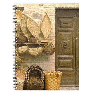 Europe, Italy, Tuscany, Montalcino. Basket Spiral Notebook