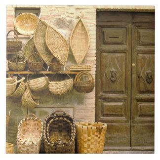 Europe, Italy, Tuscany, Montalcino. Basket Tile