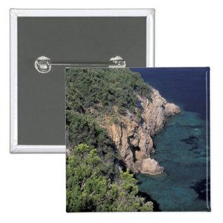 Europe, Italy, Tuscany. Rocky coast; Cala 15 Cm Square Badge